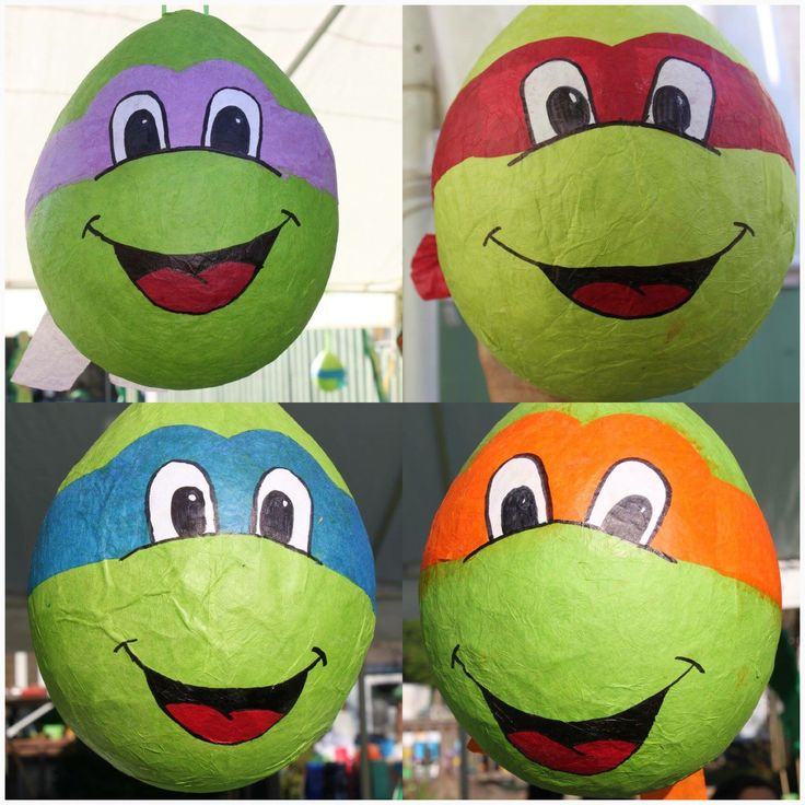 DIY ninja turtle piñatas, you make at home with a balloon and hot water with flour