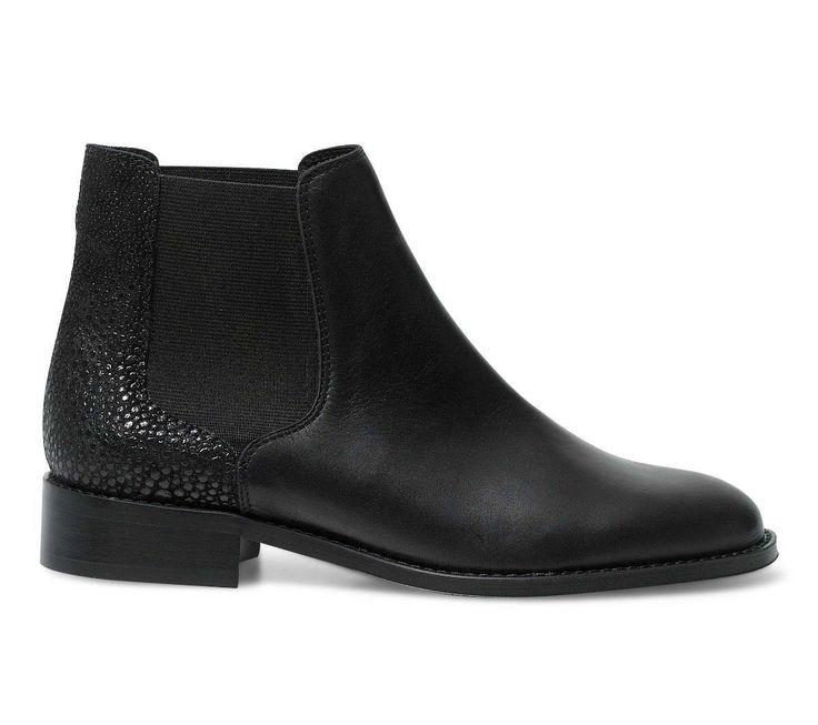 bottines noires en cuir femme