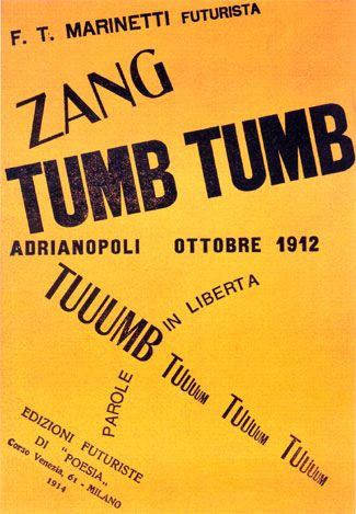 """Zang Tumb Tumb""""(usually referred to as """"Zang Tumb Tuuum"""") is a sound poem and concrete poem written by Filippo Tommaso Marinetti, an Italian futurist. It appeared in excerpts in journals between 1912 and 1914, when it was published as an artist's book in Milan. It is an account of the Battle of Adrianople, which he witnessed as a reporter for L'Intransigeant."""