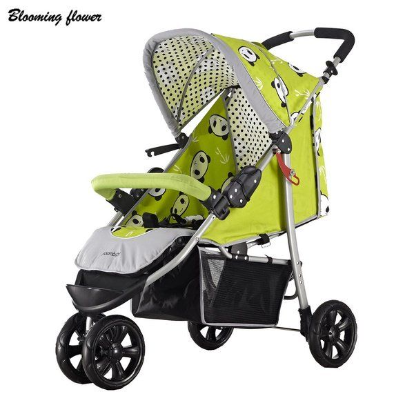 Baby Stroller Three Big Rubber Wheels Foldable Portable Light Weight Stroller With Umbrella Canopy 30KG Baby