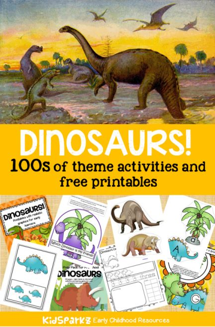 Many activity printables and games to make for a DINOSAUR theme to use when planning curriculum and lessons for preschool, preK and Kindergarten children.