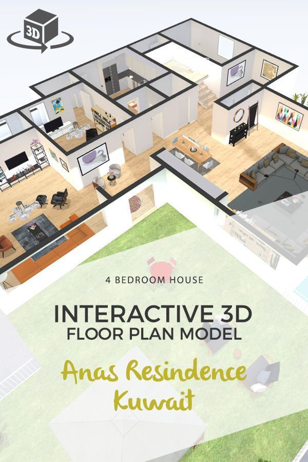 4 bedroom house floor plan in interactive 3d for a residence in kuwait get your own 3d model t house floor plans one bedroom house plans 4 bedroom house plans 4 bedroom house floor plan in