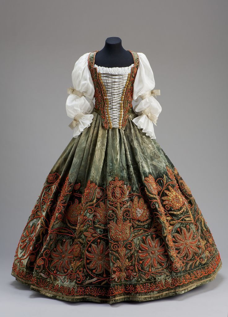 Bodice and skirt, 17th century court dress, Hungarian.  Velvet with beading and embroidery.   Front.