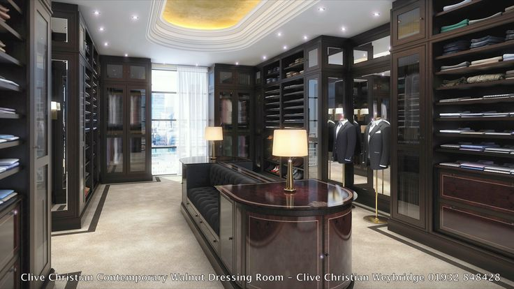 Stunning clive christian walnut contemporary dressing room for Clive christian bathroom designs