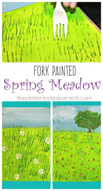 Beautiful and unique STEAM project for Exploring Creation with Botany: Fork Painted Spring Meadow - kids art projects for the spring. Fun arts and craft and painting technique