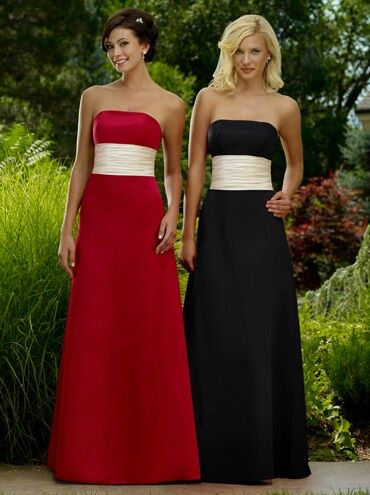 Red, black, and white bridesmaids dresses