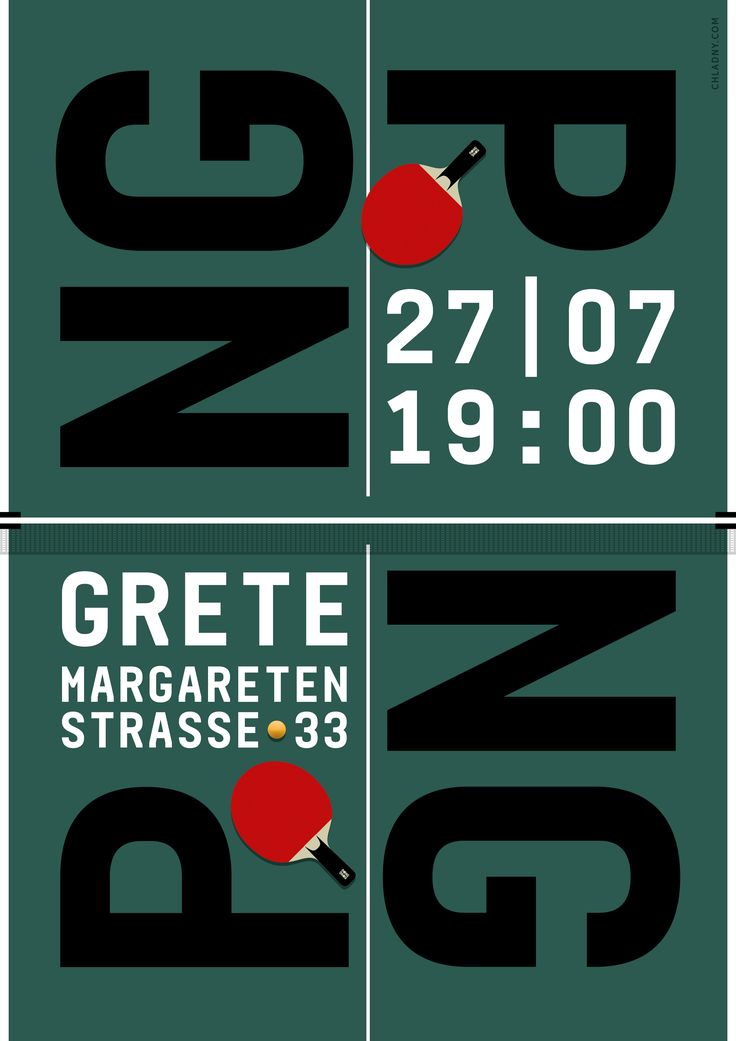 Ping Pong / Table Tennis Poster // Identity, Art Direction, Graphic Design, Illustration © 2016 Christian Chladny