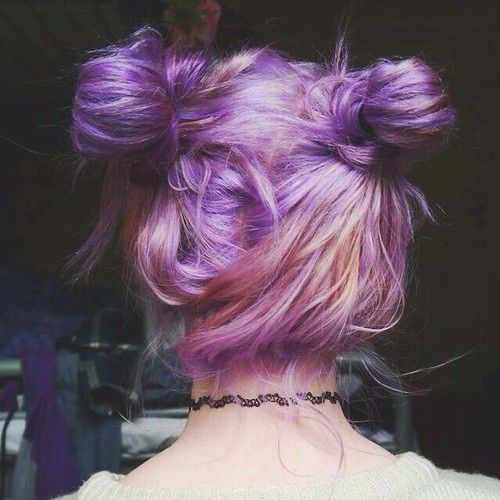 double buns! dyed hair. purple/ pink/ violett