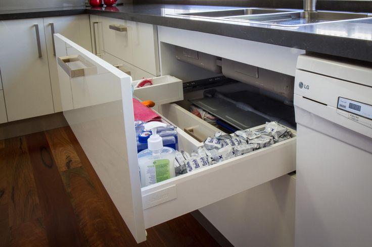 Sink drawer. Under sink storage. www.thekitchendesigncentre.com.au