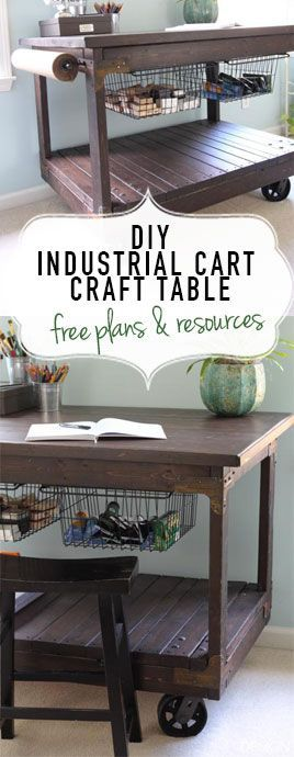 Build this easy DIY Craft table inspired by a vintage industrial cart with only…