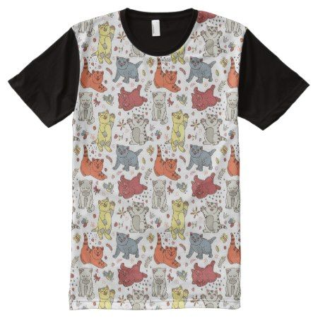 Playful cats Full Print Tee Template - tap, personalize, buy right now!