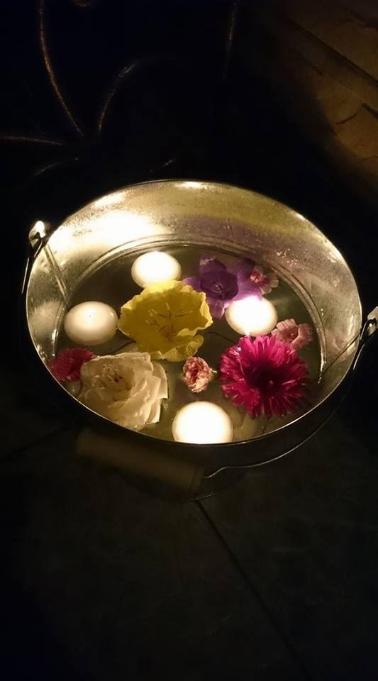 Nyári, kanna, víz, úszó gyertyák, virágok, hangulat, kerti partik....Summer, cans, water, floating candles, flowers, mood, garden parties ....