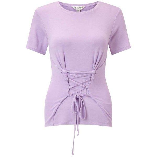 Miss Selfridge Lilac D-Ring Corset T-Shirt ($40) ❤ liked on Polyvore featuring tops, t-shirts, lilac, metallic gold t shirt, halter neck crop top, metallic crop top, halter corset and gold metallic top