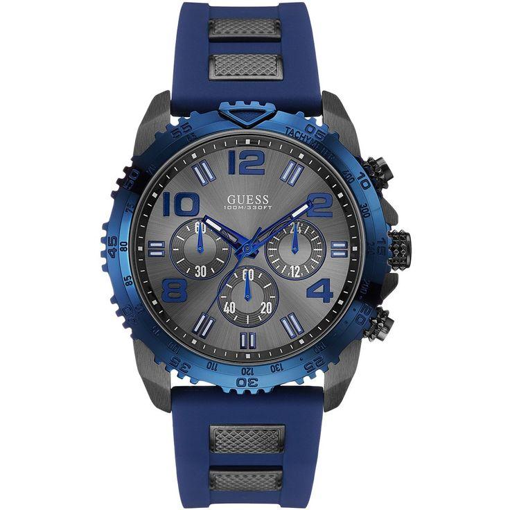 Męski zegarek Guess Velocity W0599G2 to prawdziwy sportowy zegarek w modnym stylu. Stalowa koperta o średnicy 46 mm została pokryta szarą powłoką, która jest trudno ścieralna. Połączono ją z wygodnym paskiem wykonanym z wysokiej jakości tworzywa w kolorze navy blue. #timetrend #zegarek #guess