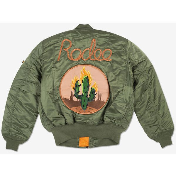 Alpha Industries, Travi$ Scott Rodeo Cactus Bomber What Drops Now ❤ liked on Polyvore featuring outerwear, jackets, patch jacket, alpha industries jacket, zipper jacket, green bomber jacket and embroidered jacket