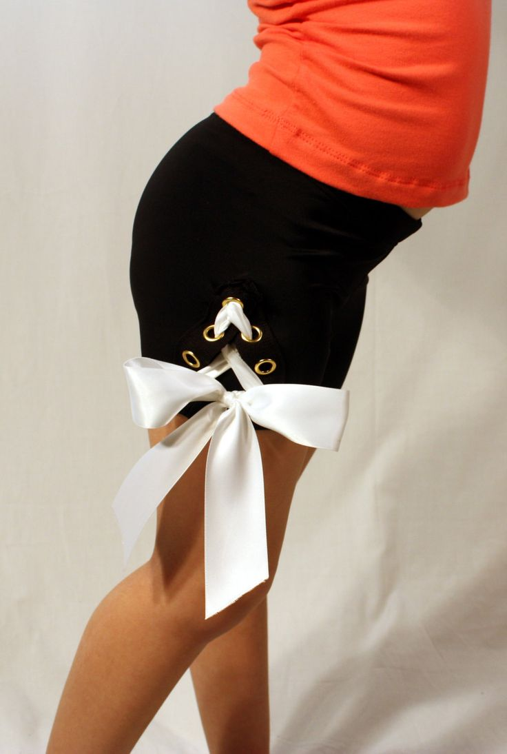 Cheer, shorts, dancewear, cheer shorts, lace-up shorts, black with grommets and white double satin ribbon by DanceGirlClothing on Etsy https://www.etsy.com/listing/196202785/cheer-shorts-dancewear-cheer-shorts-lace