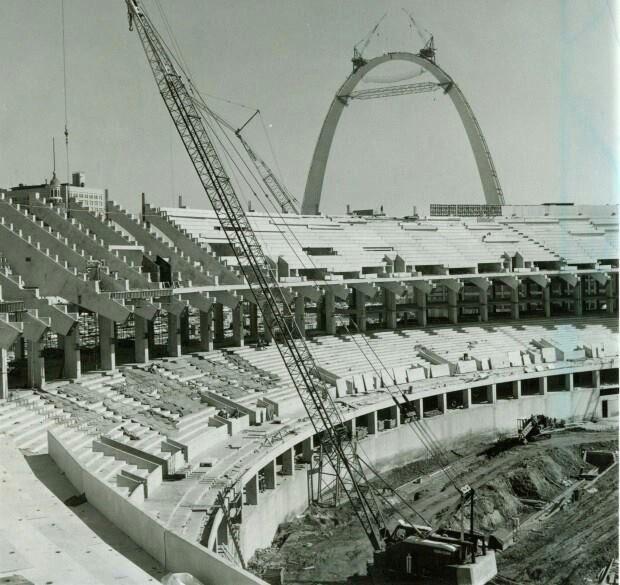 Building the Arch and the original Busch Statium. St. Louis, Missouri.