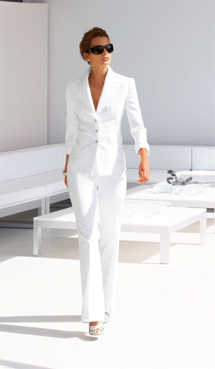 Image result for women wearing white pants suit outfit