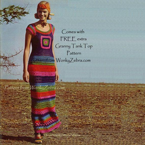 Vintage Crochet Pattern PDF 134 Granny Square Maxi by wonkyzebra
