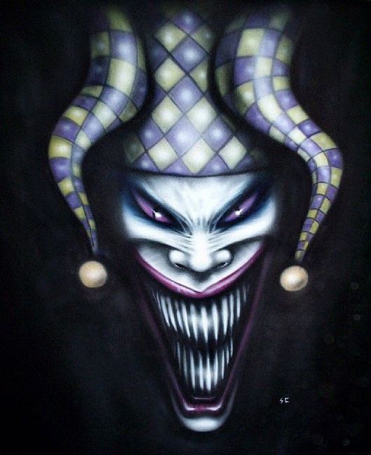 Evil Joker | Art: Original gothic art EVIL JESTER clown joker painting by Artist S ...