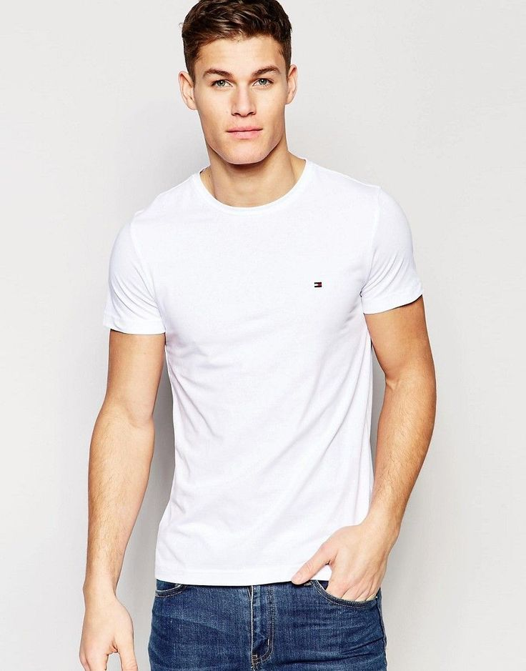 Tommy Hilfiger T-Shirt with Flag Logo In Stretch Slim Fit In White - W