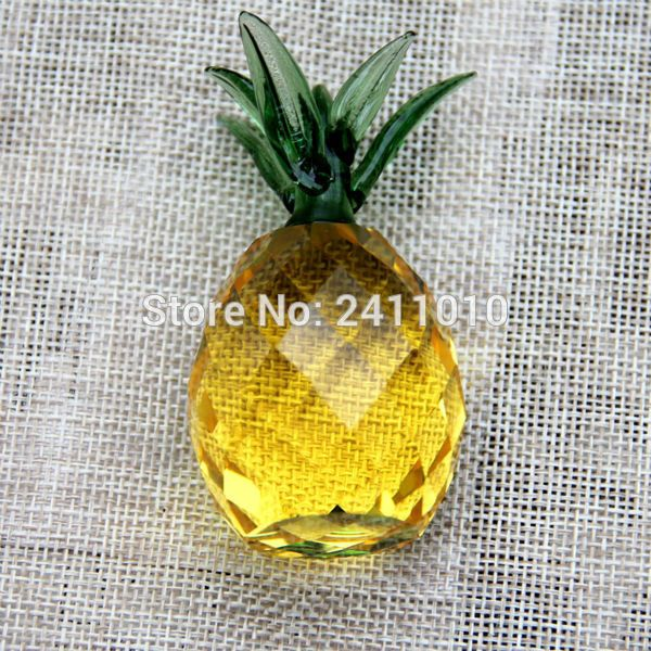 1 stücke 40mm Kristall Handwerk Ananas Glas Briefbeschwerer Fengshui Figurine Quarz Ornamente Dekoration Weihnachten Souvenir Geschenke
