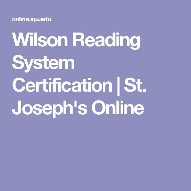 Wilson Reading System Certification | St. Joseph's Online