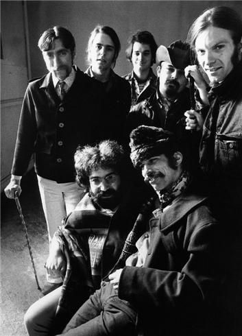 """Grateful Dead, San Francisco, CA 1969  © Herb Greene, 1969  Grateful Dead, 1969, Tom Constanten, Bob Weir, Bill Kreutzmann, Ron """"Pig Pen"""" McKernan, Phil Lesh, Mickey Hart and Jerry Garcia."""
