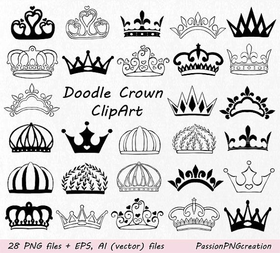 Doodle Crown Clipart Hand drawn Crown Clip by PassionPNGcreation