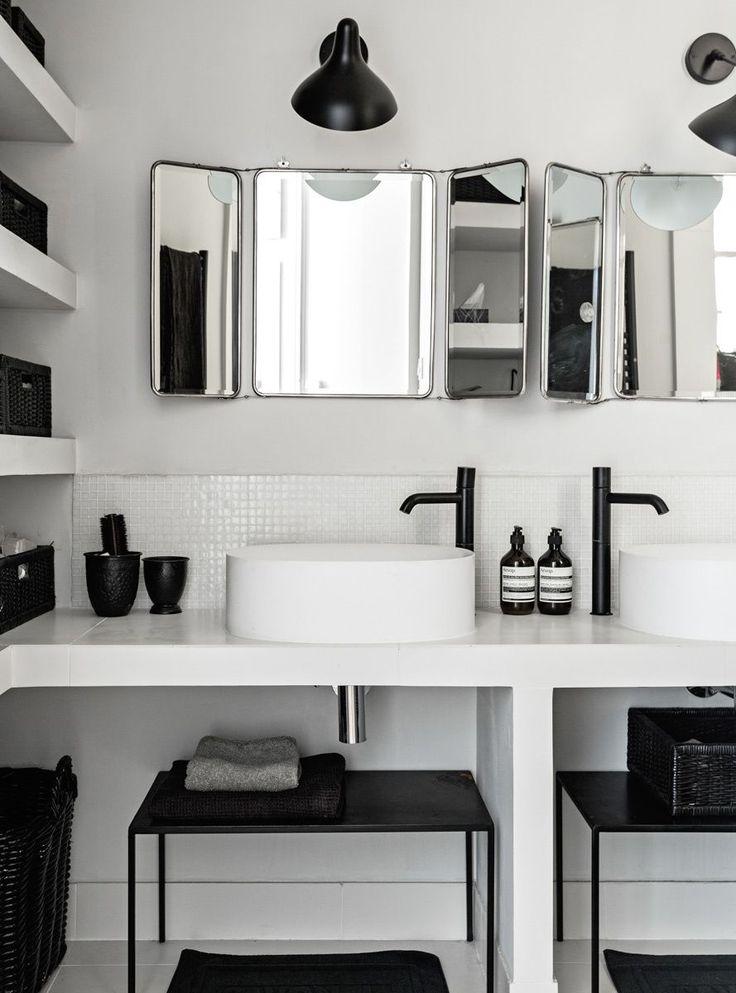 Salle de bain noire et blanche | black and white bathroom