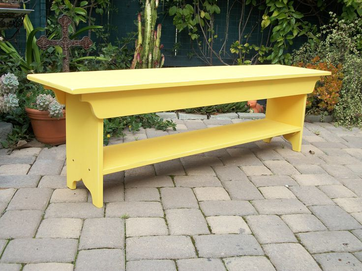 Beautiful Country Wooden Benches Part - 10: 5 Foot Primitive Country Pine Bench With Shelf $125.00, Via  SquareNailFurniture_Etsy. Bright Yellow,