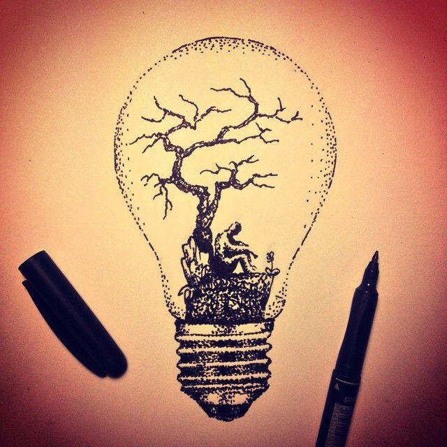#dotwork #lightbulb