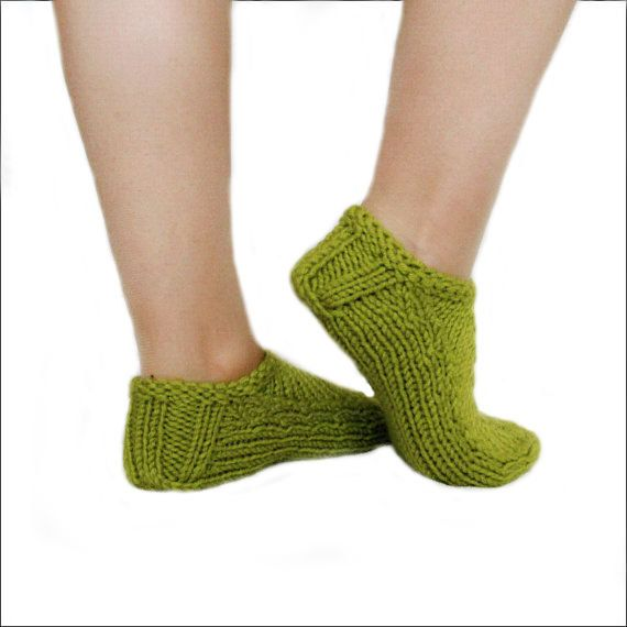 Olive Slippers Women's Slippers Knit Green Slippers Wool Slippers Hand Knit Booties Winter Slippers  (21.00 USD) by mymomsshop1