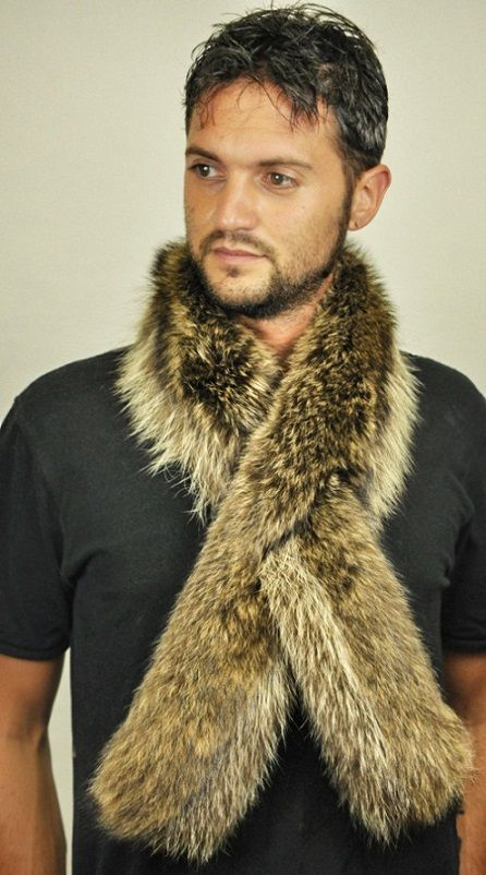 Extremely warm raccoon fur scarf, double sided raccoon fur.  www.amifur.co.uk