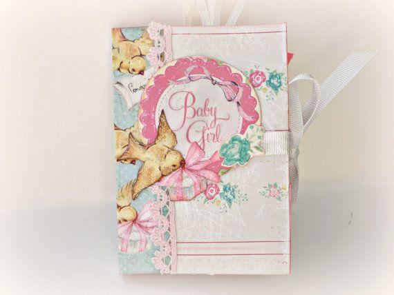 Mini scrapbook album Girl photo album Baby by sweetpaperlife