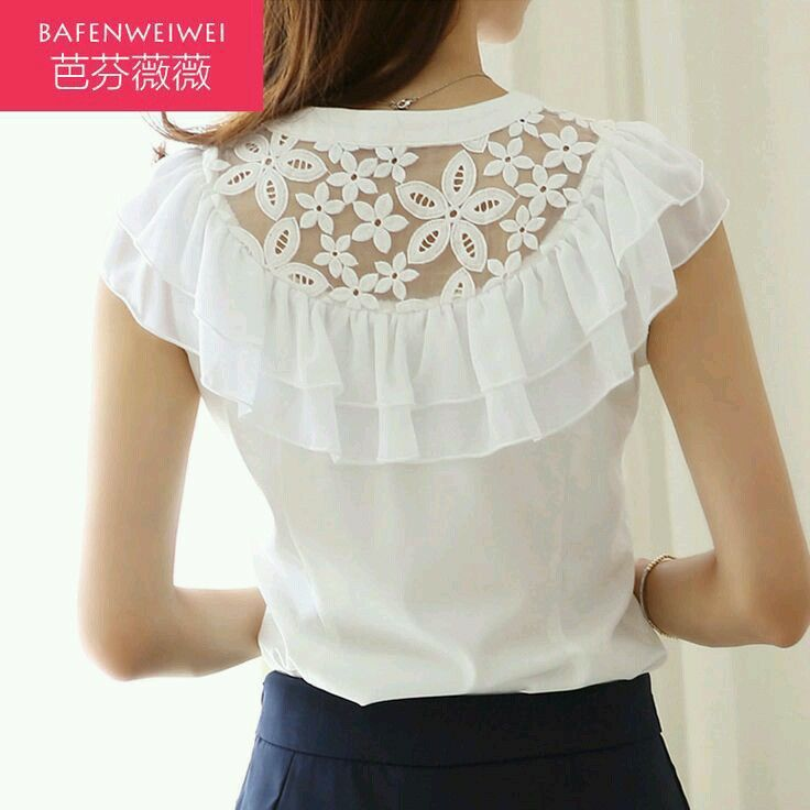Blouse with Lace and double flounce detail |back view