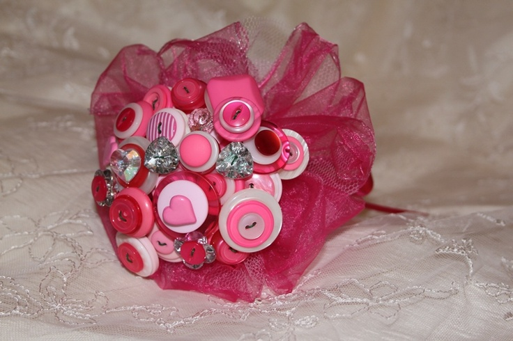 Pink flower girl button bouquets - Forever button bouquets