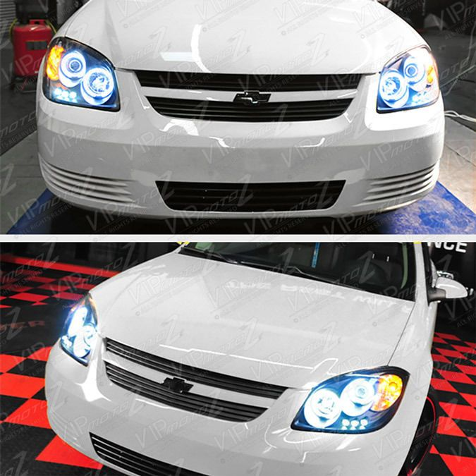 05-10 COBALT Dual CCFL Angel Eyes Halo Left+Right Black Headlight Lamps Assembly #VIPMOTOZ