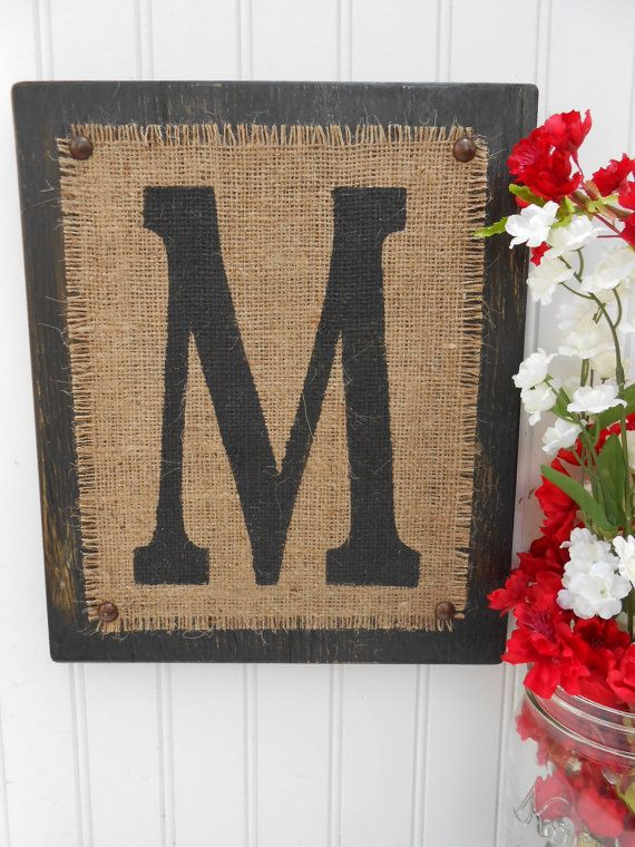 Burlap and Black wood Letter M, or other letter and color, Customizable monogram rustic sign on Etsy, $30.00