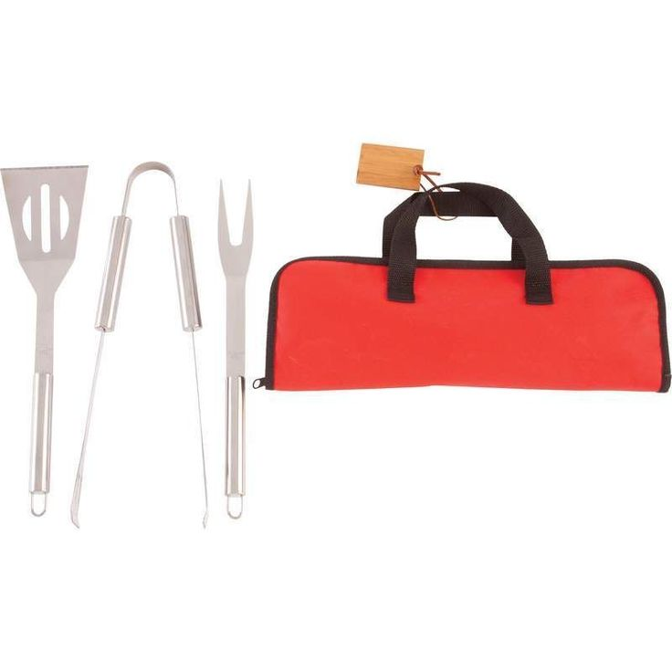 3 Piece Outdoor Stainless Steel BBQ Tool Utensil Set With Zippered Storage Case