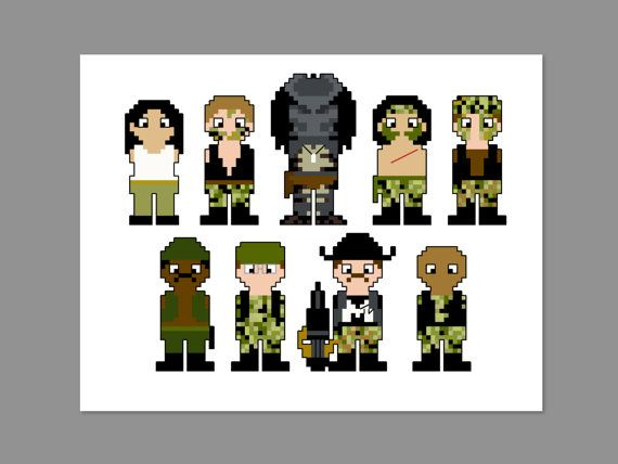 Predator Pixel People Character Cross Stitch by CheekySharkLabs