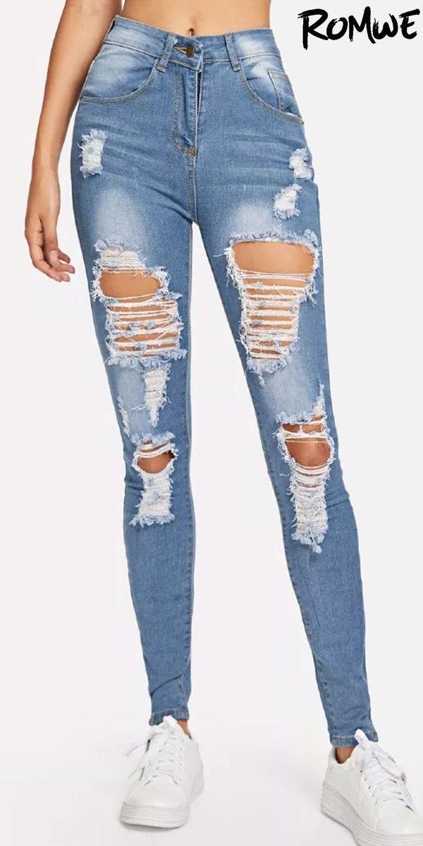 Arranco La Lejia Lavar Los Pantalones Vaqueros Flacos Cute Ripped Jeans Diy Ripped Jeans Cute Pants