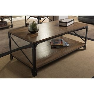 Baxton Studio Newcastle Vintage Industrial Wood and Metal Coffee Table   Overstock.com Shopping - The Best Deals on Coffee, Sofa & End Tables