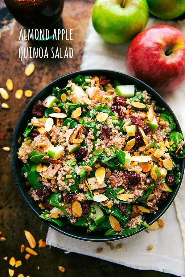 A simple quinoa salad with toasted almonds and sunflower seeds, a chopped apple, and dried cranberries. A delicious raspberry vinaigrette covers this salad! Add some grilled chicken if desired.