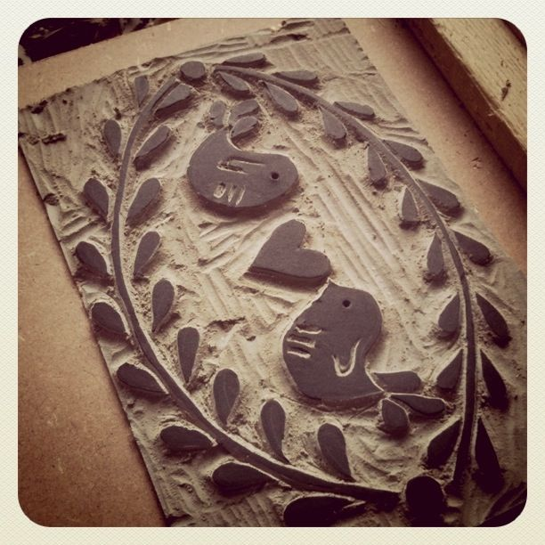 Experimenting with lino printing - Cut out design.