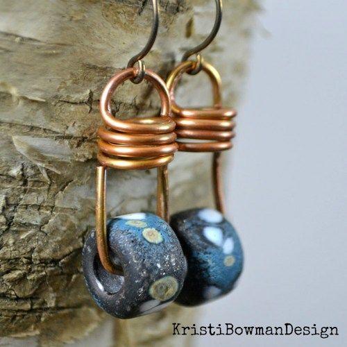Lightbulb, copper lampwork glass niobium earrings | KristiBowmanDesign - Jewelry on ArtFire