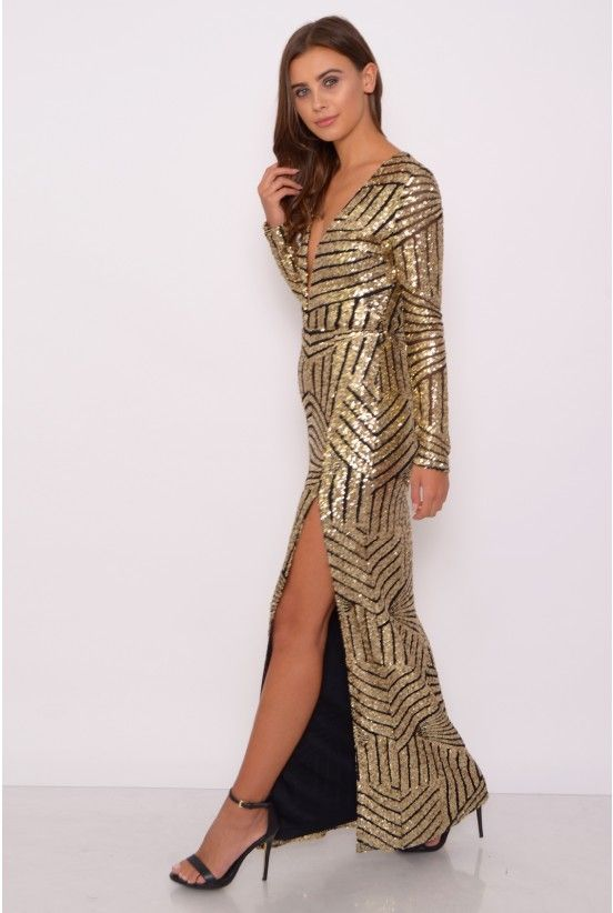 Rare london gold maxi dress