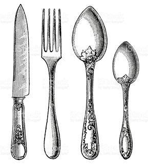 Vintage cubiertos. Cuchillo, cuchara y tenedor illustracion libre de derechos libre de derechos