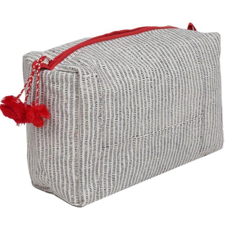Alice Stripes Toiletry Bag Gray Market