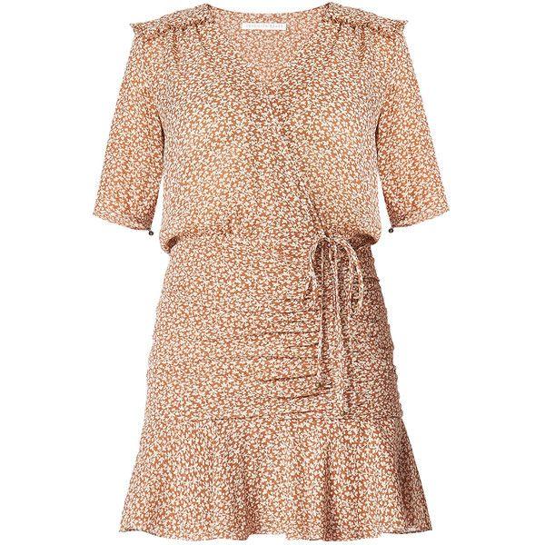 Dakota Flounce Dress (1.449.905 COP) ❤ liked on Polyvore featuring dresses, gathered dress, frilled dress, ruched dress, shirring dress and shirred dress